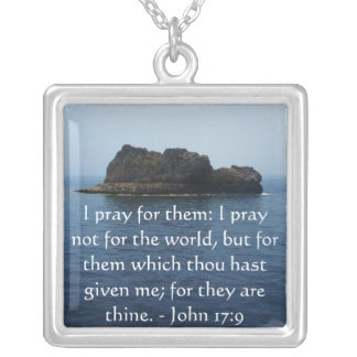 I pray for them: I pray not for the world.... Square Pendant Necklace