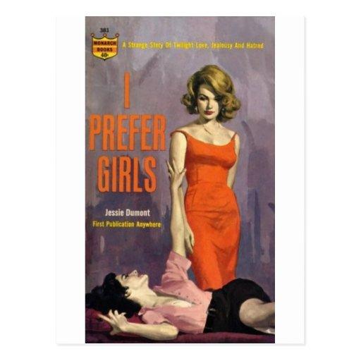 I Prefer Girls - 60s lesbian pulp novel Postcard