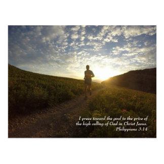 I Press Toward the Goal Philippians 3:14 Scripture Postcard