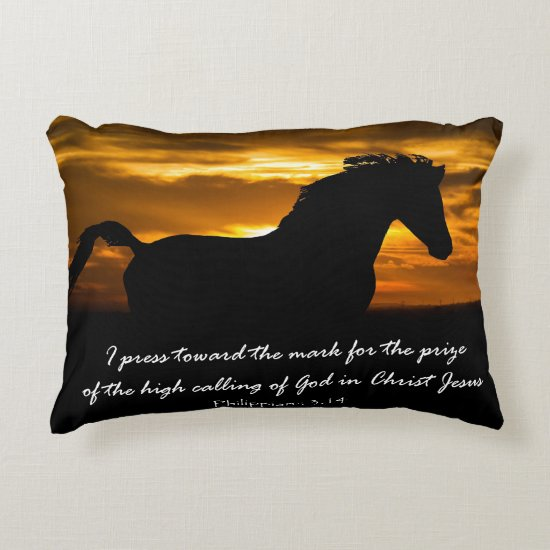 I press Toward the Mark Bible Verse Decorative Pillow