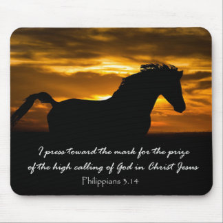 I press Toward the Mark Bible Verse with Horse Mouse Pad
