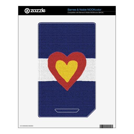 ¡I productos de la bandera de Colorado del corazón NOOK Color Skins