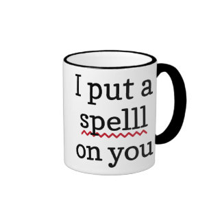 I Put A Spell Check On You Ringer Coffee Mug