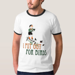 Men's Basic Ringer T-Shirt with I Put Out For Birds (boy) design