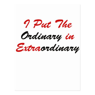 I Put The Ordinary In Extraordinary Postcard