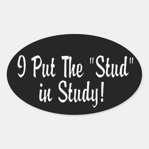 "I Put the ""Stud"" in Study! Oval Sticker"