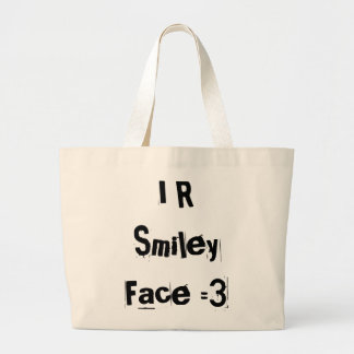 I R Smiley Face Large Tote Bag