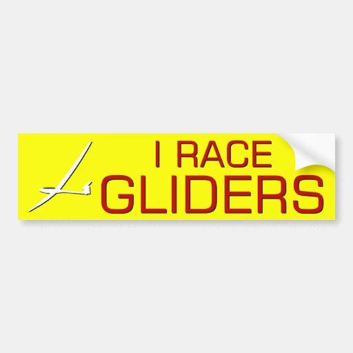 I RACE GLIDERS CAR BUMPER STICKER