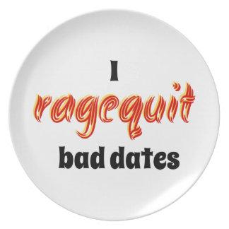 I Ragequit Bad Dates Party Plates