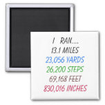 I Ran 13.1 Miles 2 Inch Square Magnet