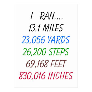 I Ran 13.1 Miles Postcard