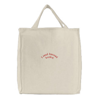 I read banned books! Embroidered Bag