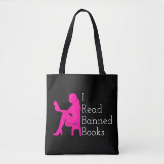 I Read Banned Books: Girl Reading Personalized Tote Bag