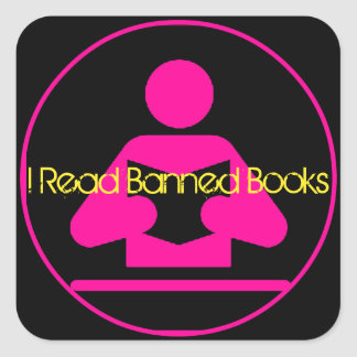 I Read Banned Books: Pink Reading Icon Square Sticker