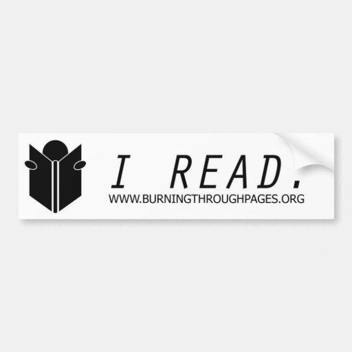 I Read Bumper Sticker