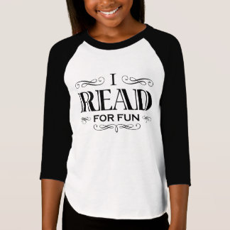 I Read For Fun (kid's black design) T-Shirt