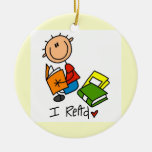I Read Double-Sided Ceramic Round Christmas Ornament