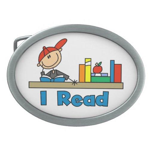 I Read Oval Belt Buckle