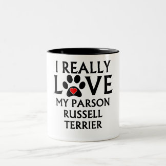 I Really Love My Parson Russell Terrier Two-Tone Coffee Mug