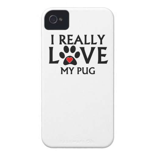 I Really Love My Pug iPhone 4 Case-Mate Cases