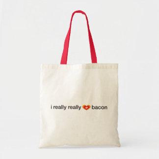 i really really heart bacon tote bag