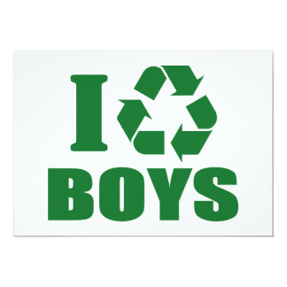 I Recycle Boys 5x7 Paper Invitation Card