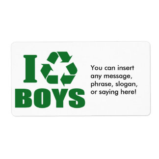 I Recycle Boys Label
