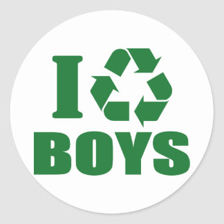 I Recycle Boys Classic Round Sticker