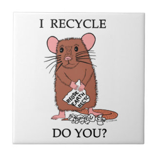 I Recycle, Do You? Small Square Tile