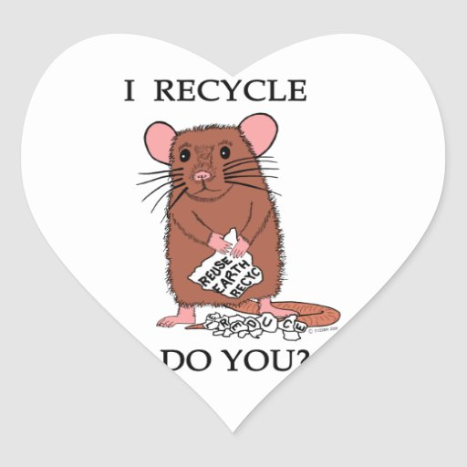 I Recycle, Do You? Heart Stickers