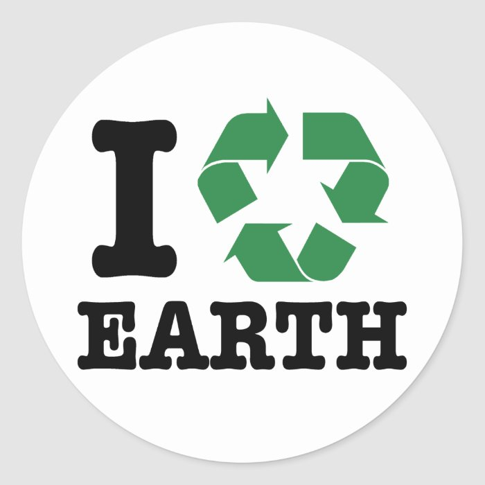 I Recycle Earth Classic Round Sticker