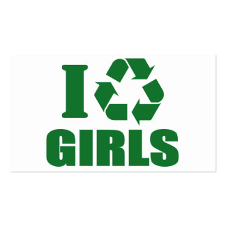 I Recycle Girls Double-Sided Standard Business Cards (Pack Of 100)