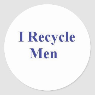 I RECYCLE MEN CLASSIC ROUND STICKER