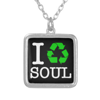 I Recycle Soul Square Pendant Necklace
