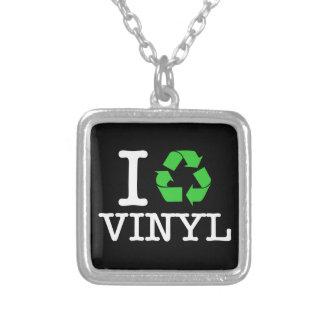 I Recycle Vinyl Square Pendant Necklace
