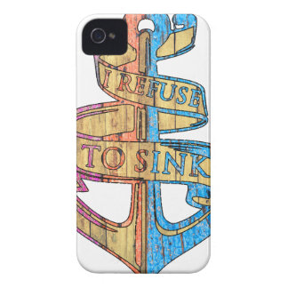 """I Refuse to Sink"" Quote Nautical Anchor iPhone 4 Cover"