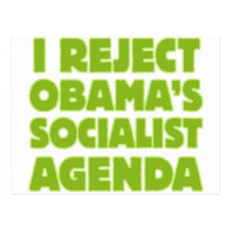 I Reject Obama's Socialist Agenda Postcard