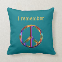 """""""I Remember"""" Text with Peace Symbol Throw Pillow"""