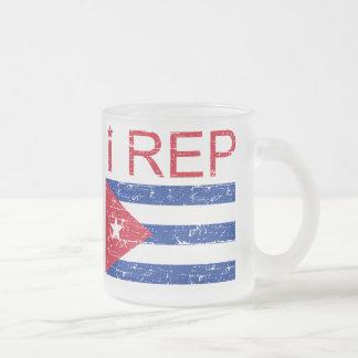 I rep Cuba 10 Oz Frosted Glass Coffee Mug