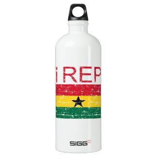 I rep ghana flag design aluminum water bottle