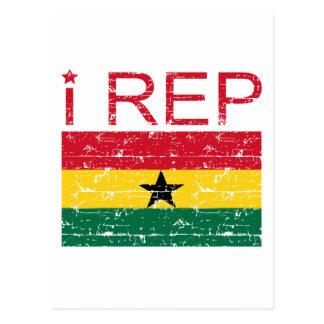 I rep ghana flag design postcard