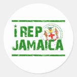 I rep Jamaica Round Sticker