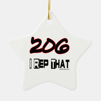 I Rep That 206 Area Code Christmas Tree Ornament
