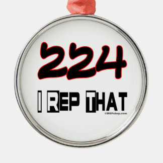 I Rep That 224 Area Code Christmas Tree Ornaments