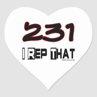 I Rep That 231 Area Code Heart Sticker