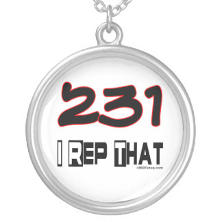I Rep That 231 Area Code Round Pendant Necklace