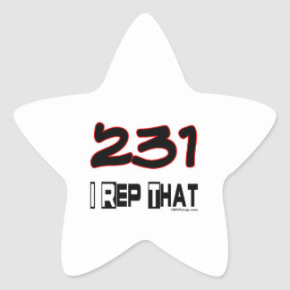 I Rep That 231 Area Code Star Sticker