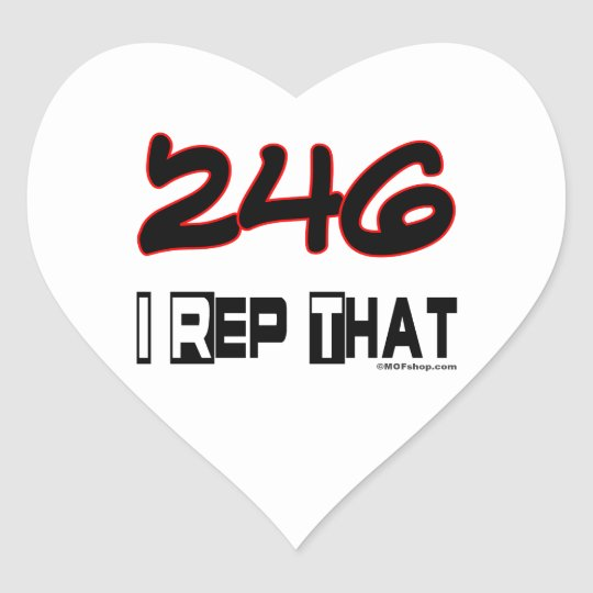 I Rep That 246 Area Code Heart Sticker