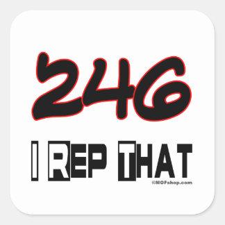 I Rep That 246 Area Code Square Sticker