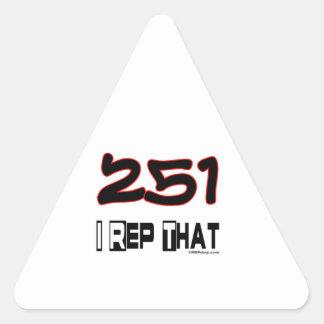 I Rep That 251 Area Code Triangle Sticker